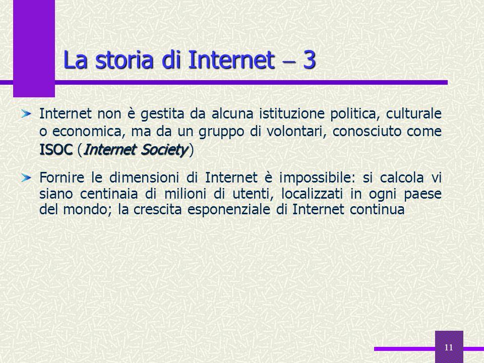10 La storia diInternet 2 La storia di Internet 2 ARPANET Stanford Research Institute Nel 1969, il Dipartimento della Difesa commissionò ARPANET, con