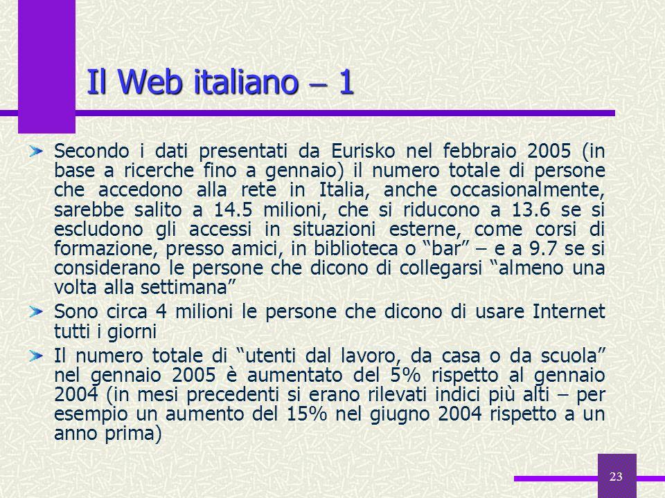 22 Il World Wide Web Grazie al Web stiamo assistendo ad una rivoluzione nellaccesso alle fonti di informazione Cercare nel Web è come accedere ad unen