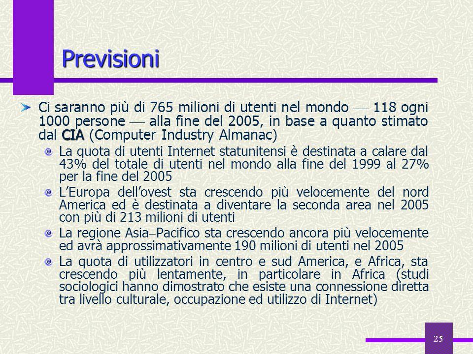 24 Il Web italiano 2 Eurisko ritiene che il potenziale di sviluppo si collochi fra i 23 e i 24 milioni di persone (e che quindi lattuale penetrazione