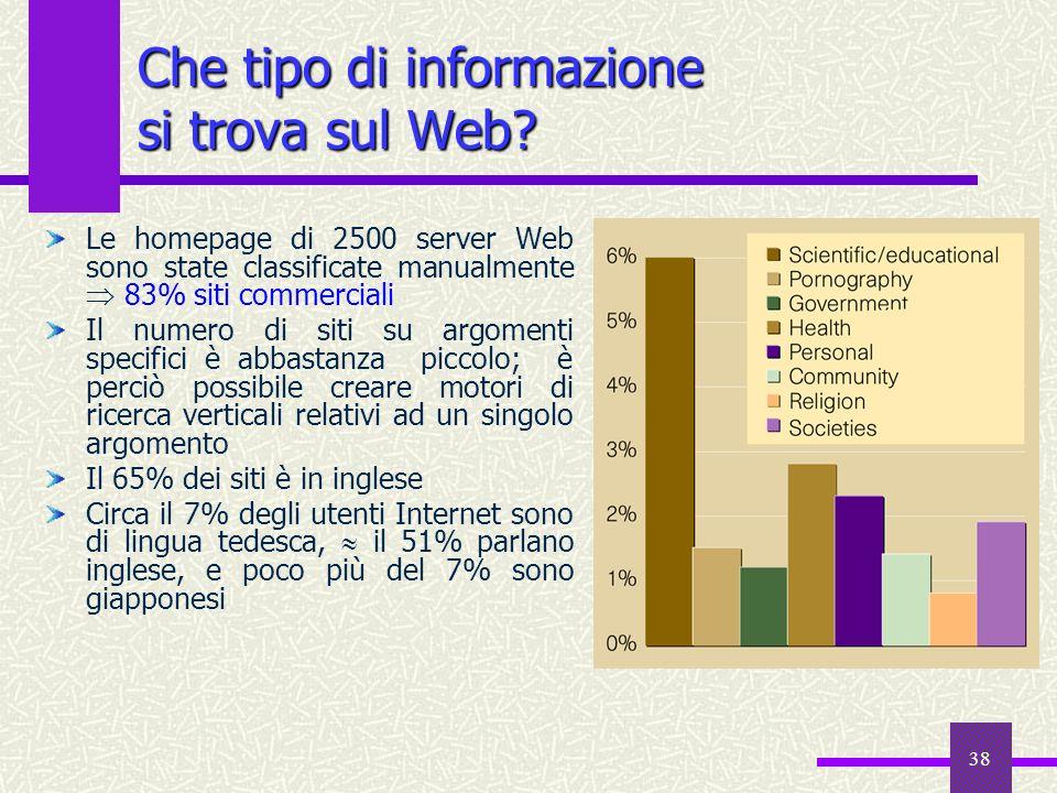 37 Deep Web deep Web Il deep Web è rappresentato da tutti i siti inaccessibili ai motori di ricerca tradizionali: 500 miliardi di documenti racchiusi