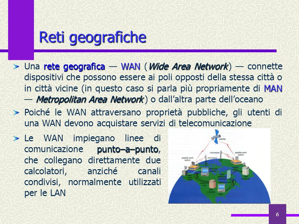 5 Reti locali rete localeLAN Local Area Network Una rete locale LAN (Local Area Network ) connette dispositivi hardware che si trovano fisicamente vic