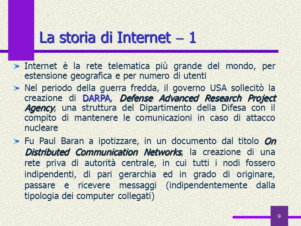 19 Internet, ovvero… il WWW 1 WWW: Whatever, Wherever, Whenever WWW: World Wide Wait (lattesa planetaria) Information Nirvana Internet è la più grande anarchia operante nel mondo.