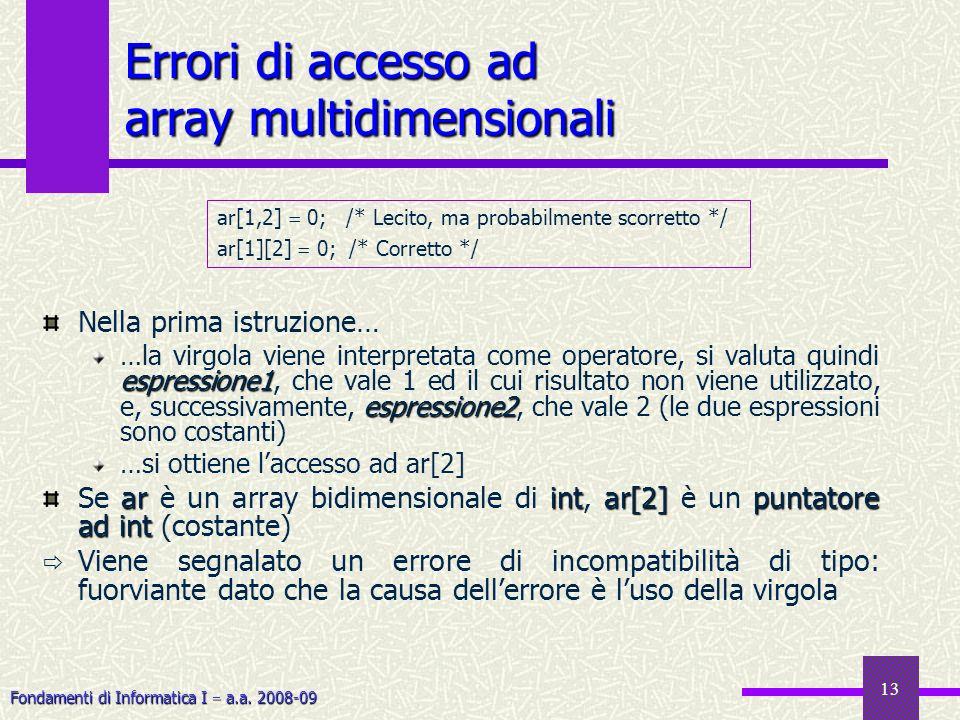 Fondamenti di Informatica I a.a. 2008-09 13 Errori di accesso ad array multidimensionali ar[1,2] 0; /* Lecito, ma probabilmente scorretto */ ar[1][2]