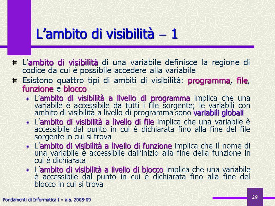 Fondamenti di Informatica I a.a. 2008-09 29 Lambito di visibilità 1 ambito di visibilità Lambito di visibilità di una variabile definisce la regione d