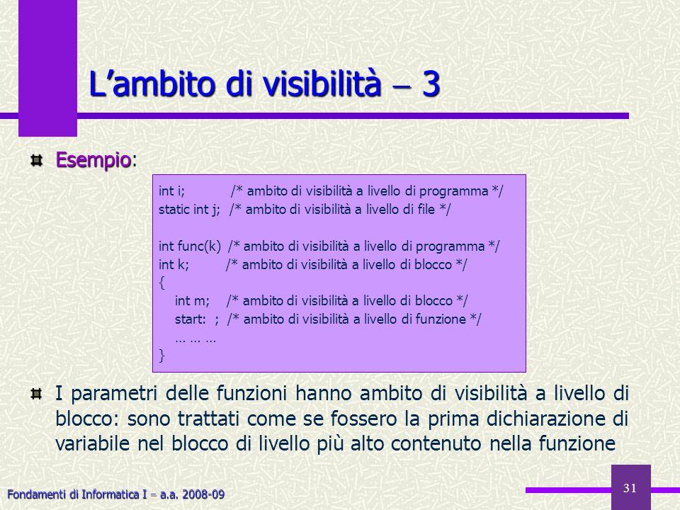 Fondamenti di Informatica I a.a. 2008-09 31 Esempio Esempio: I parametri delle funzioni hanno ambito di visibilità a livello di blocco: sono trattati