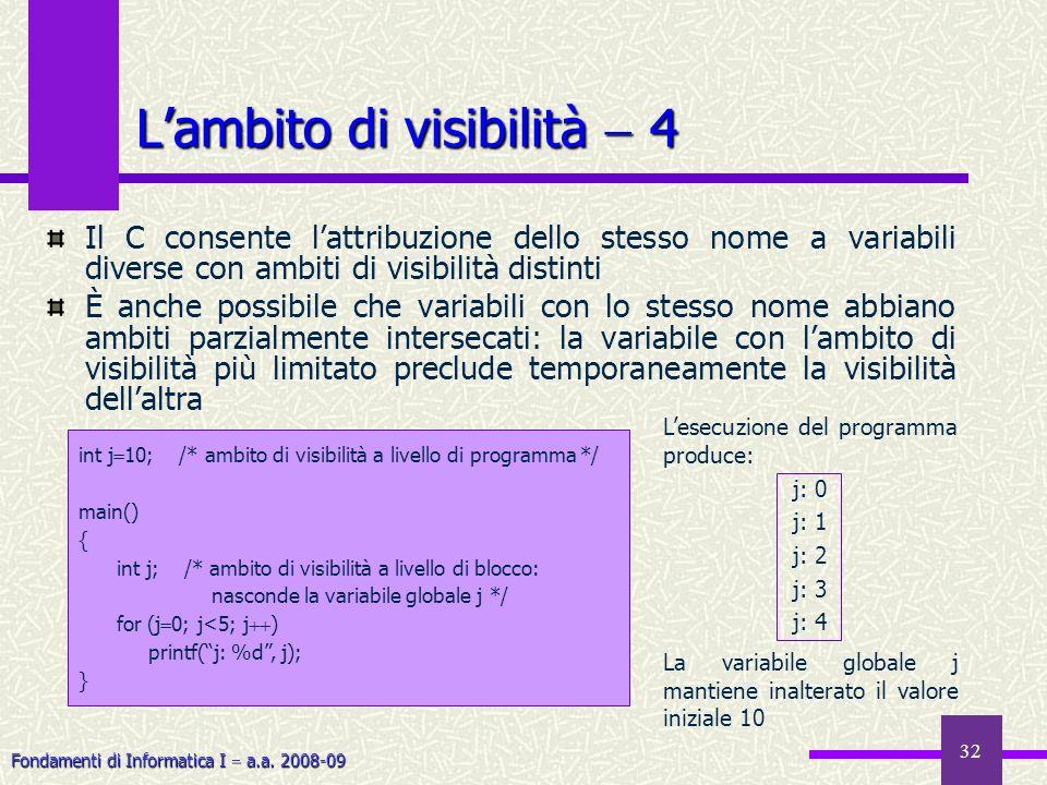 Fondamenti di Informatica I a.a. 2008-09 32 Lambito di visibilità 4 Il C consente lattribuzione dello stesso nome a variabili diverse con ambiti di vi