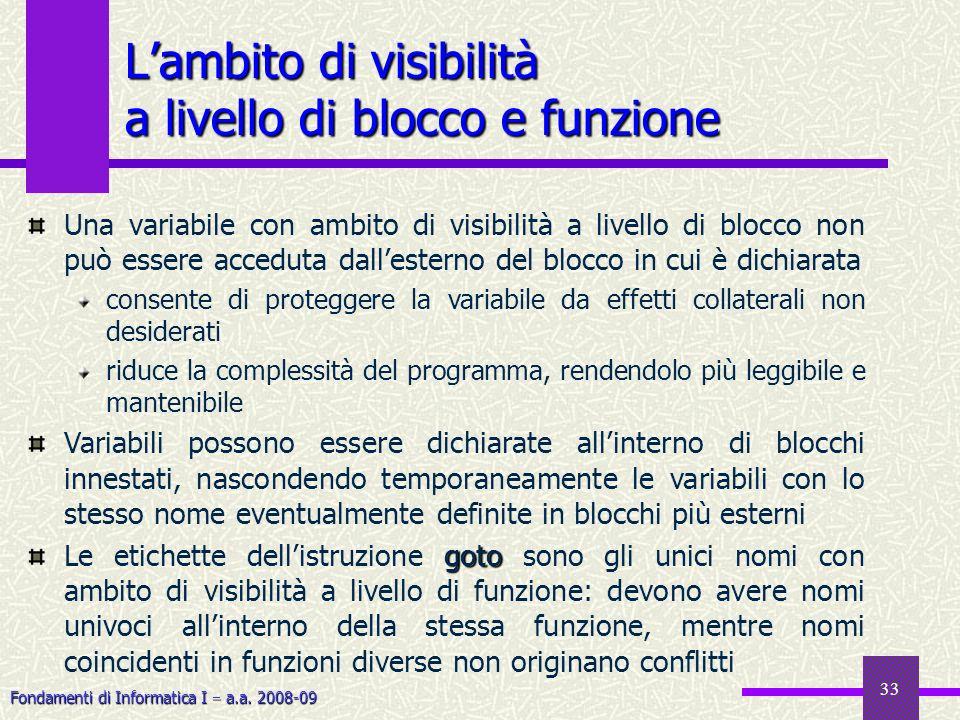 Fondamenti di Informatica I a.a. 2008-09 33 Lambito di visibilità a livello di blocco e funzione Una variabile con ambito di visibilità a livello di b