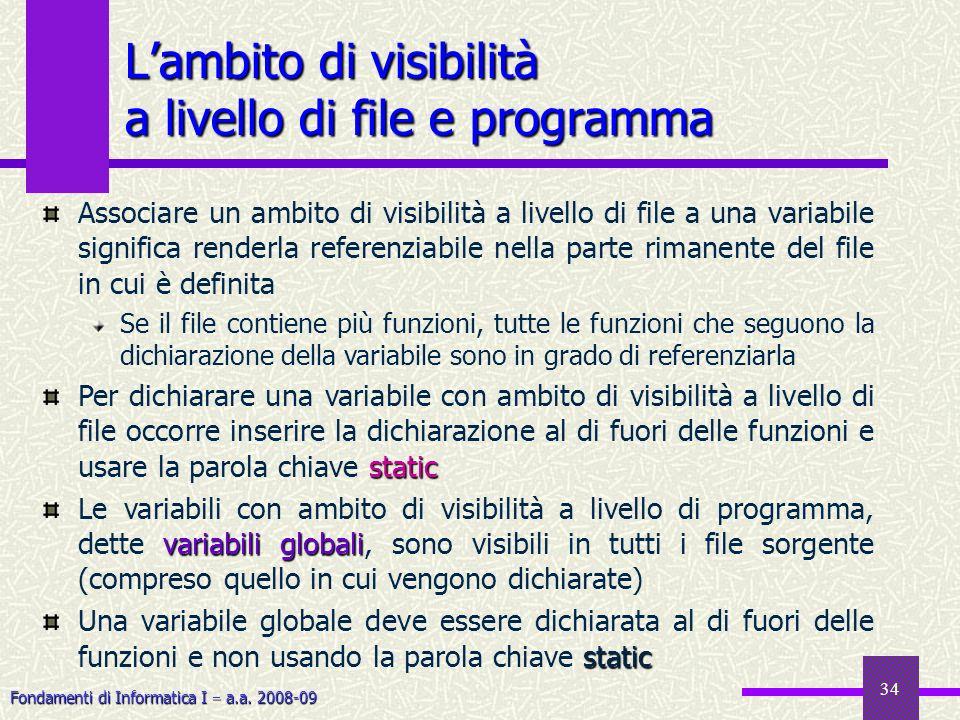 Fondamenti di Informatica I a.a. 2008-09 34 Lambito di visibilità a livello di file e programma Associare un ambito di visibilità a livello di file a