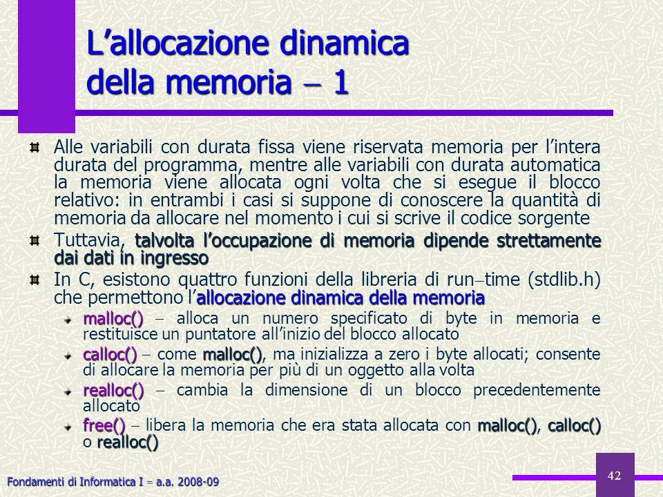 Fondamenti di Informatica I a.a. 2008-09 42 Alle variabili con durata fissa viene riservata memoria per lintera durata del programma, mentre alle vari