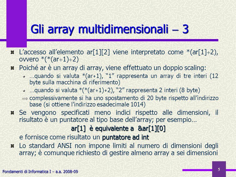 Fondamenti di Informatica I a.a. 2008-09 5 Laccesso allelemento ar[1][2] viene interpretato come *(ar[1] 2), ovvero *(*(ar 1) 2) Poiché ar è un array
