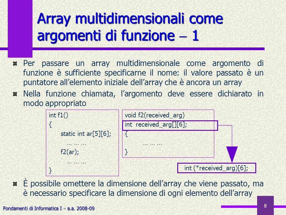 Fondamenti di Informatica I a.a. 2008-09 8 Per passare un array multidimensionale come argomento di funzione è sufficiente specificarne il nome: il va