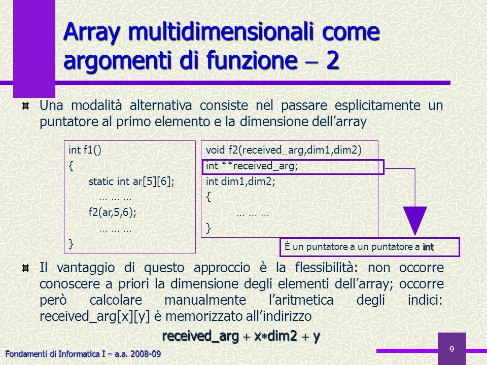 Fondamenti di Informatica I a.a. 2008-09 9 Una modalità alternativa consiste nel passare esplicitamente un puntatore al primo elemento e la dimensione