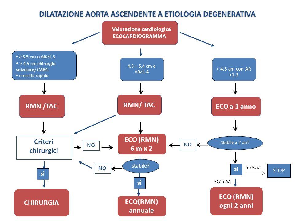 DILATAZIONE AORTA ASCENDENTE A ETIOLOGIA DEGENERATIVA ECO a 1 anno Valutazione cardiologica ECOCARDIOGRAMMA RMN/ TAC ECO(RMN) annuale NO ECO (RMN) ogn