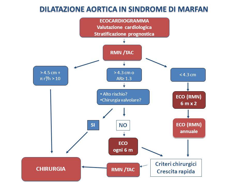 DILATAZIONE AORTICA IN SINDROME DI MARFAN ECO (RMN) annuale ECOCARDIOGRAMMA Valutazione cardiologica Stratificazione prognostica ECOCARDIOGRAMMA Valut