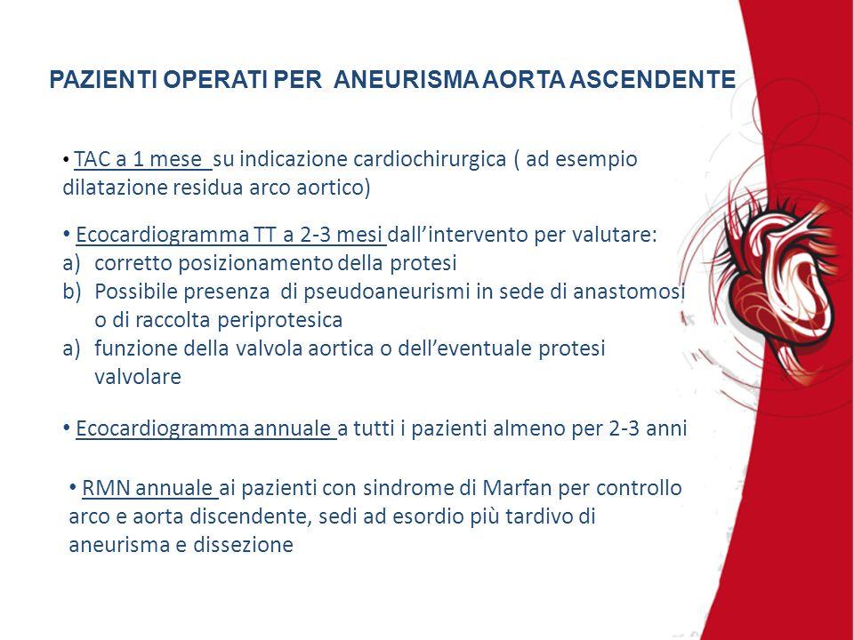 PAZIENTI OPERATI PER ANEURISMA AORTA ASCENDENTE TAC a 1 mese su indicazione cardiochirurgica ( ad esempio dilatazione residua arco aortico) RMN annual
