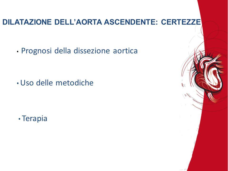 DILATAZIONE DELLAORTA ASCENDENTE: CERTEZZE Prognosi della dissezione aortica Terapia Uso delle metodiche