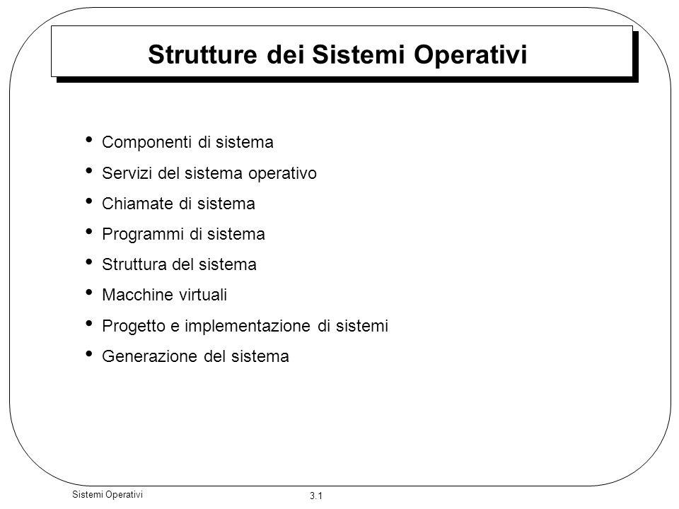 3.1 Sistemi Operativi Strutture dei Sistemi Operativi Componenti di sistema Servizi del sistema operativo Chiamate di sistema Programmi di sistema Str