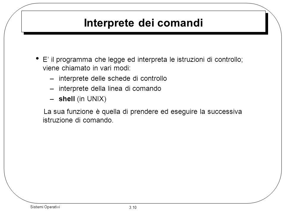 3.10 Sistemi Operativi Interprete dei comandi E il programma che legge ed interpreta le istruzioni di controllo; viene chiamato in vari modi: –interpr