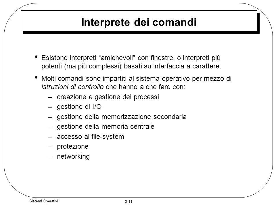 3.11 Sistemi Operativi Interprete dei comandi Esistono interpreti amichevoli con finestre, o interpreti più potenti (ma più complessi) basati su inter