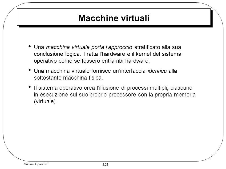 3.28 Sistemi Operativi Macchine virtuali Una macchina virtuale porta lapproccio stratificato alla sua conclusione logica. Tratta lhardware e il kernel