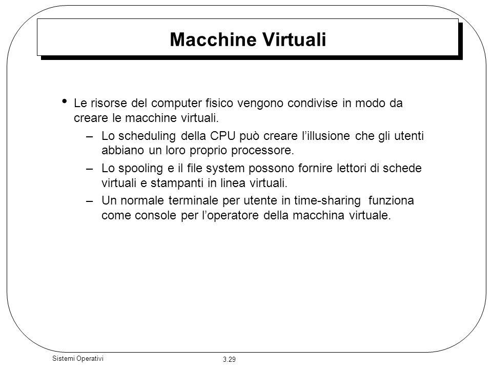3.29 Sistemi Operativi Macchine Virtuali Le risorse del computer fisico vengono condivise in modo da creare le macchine virtuali. –Lo scheduling della