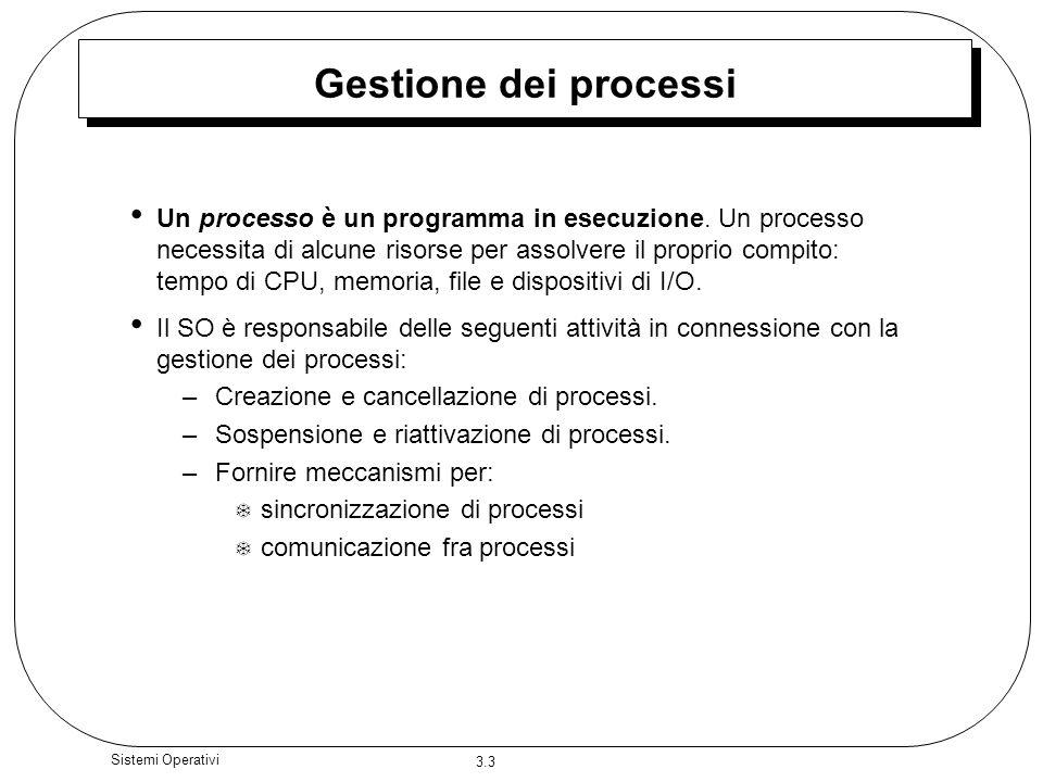3.3 Sistemi Operativi Gestione dei processi Un processo è un programma in esecuzione. Un processo necessita di alcune risorse per assolvere il proprio