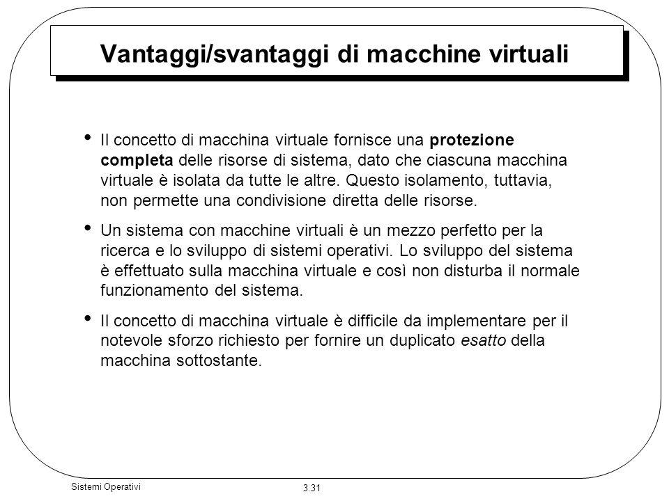 3.31 Sistemi Operativi Vantaggi/svantaggi di macchine virtuali Il concetto di macchina virtuale fornisce una protezione completa delle risorse di sist