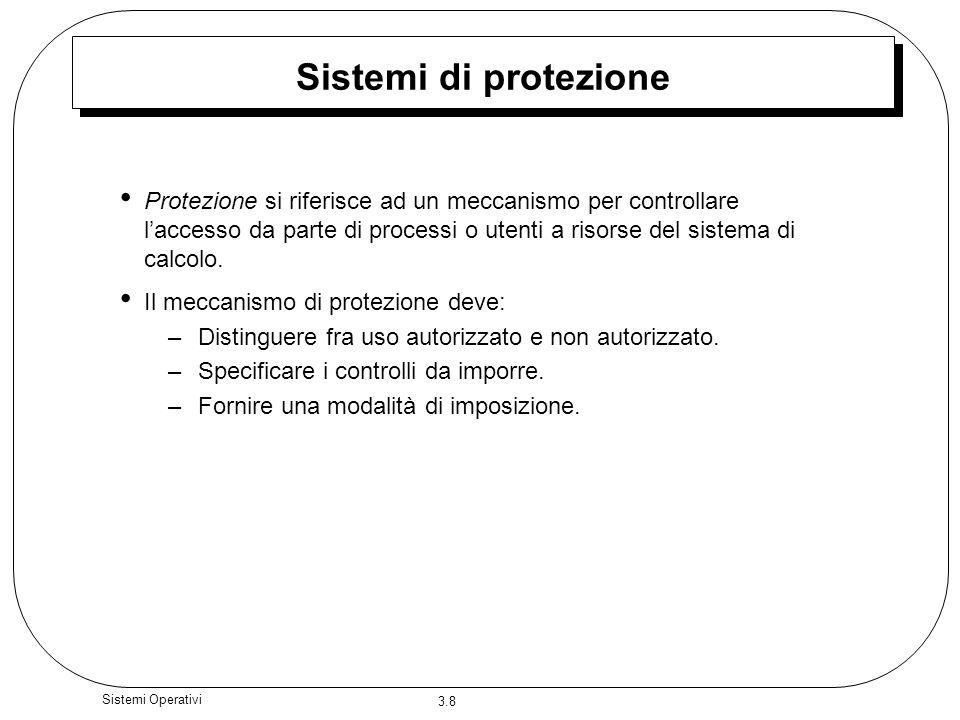 3.8 Sistemi Operativi Sistemi di protezione Protezione si riferisce ad un meccanismo per controllare laccesso da parte di processi o utenti a risorse