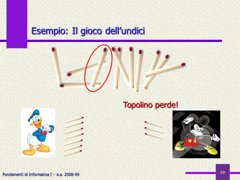 Fondamenti di Informatica I a.a. 2008-09 10 Esempio: Il gioco dellundici Topolino perde!