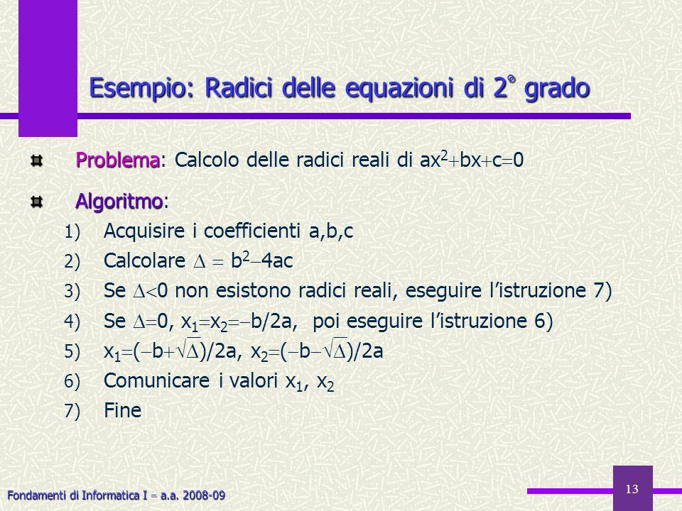 Fondamenti di Informatica I a.a. 2008-09 13 Problema Problema: Calcolo delle radici reali di ax 2 bx c 0 Algoritmo Algoritmo: 1) Acquisire i coefficie