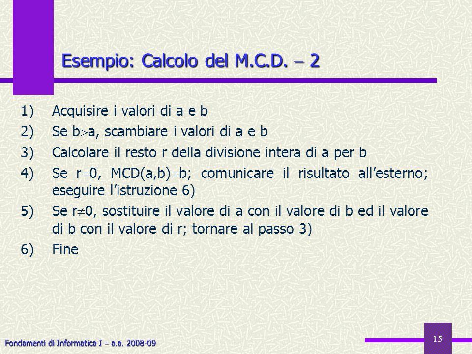Fondamenti di Informatica I a.a. 2008-09 15 1)Acquisire i valori di a e b 2)Se b a, scambiare i valori di a e b 3)Calcolare il resto r della divisione