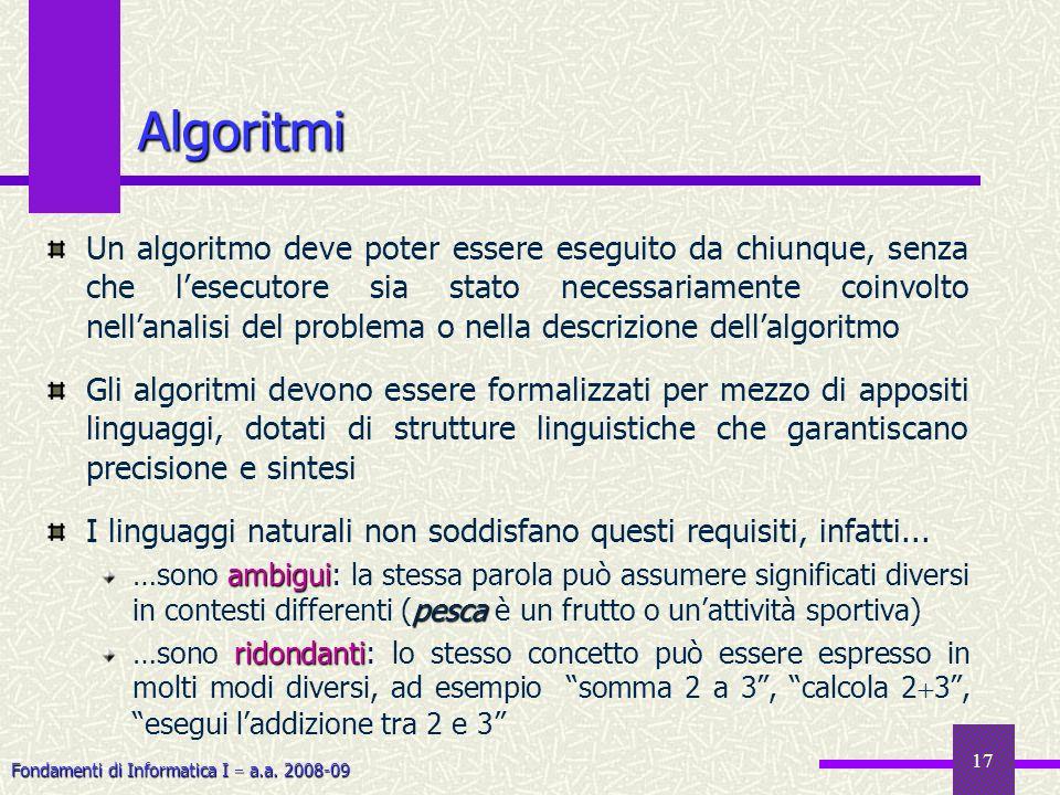 Fondamenti di Informatica I a.a. 2008-09 17 Un algoritmo deve poter essere eseguito da chiunque, senza che lesecutore sia stato necessariamente coinvo