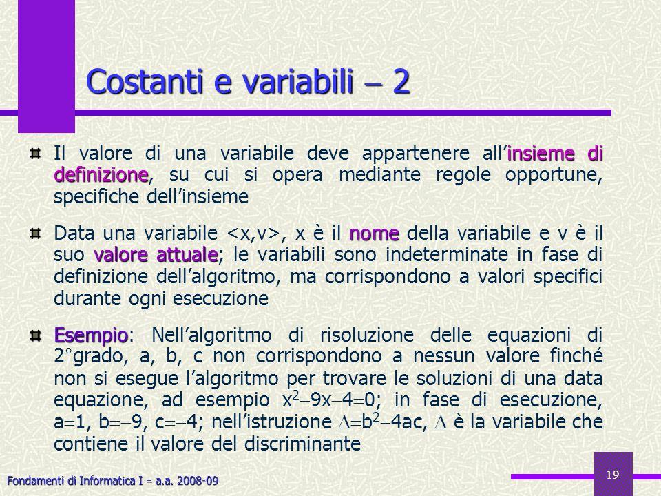 Fondamenti di Informatica I a.a. 2008-09 19 insieme di definizione Il valore di una variabile deve appartenere allinsieme di definizione, su cui si op