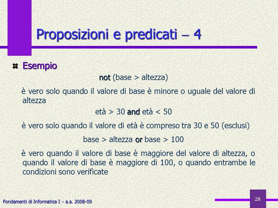 Fondamenti di Informatica I a.a. 2008-09 28 Esempio not not (base > altezza) è vero solo quando il valore di base è minore o uguale del valore di alte