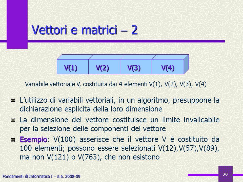 Fondamenti di Informatica I a.a. 2008-09 30 Lutilizzo di variabili vettoriali, in un algoritmo, presuppone la dichiarazione esplicita della loro dimen