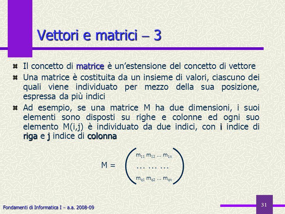 Fondamenti di Informatica I a.a. 2008-09 31 matrice Il concetto di matrice è unestensione del concetto di vettore Una matrice è costituita da un insie