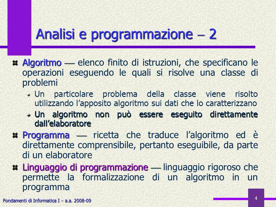Fondamenti di Informatica I a.a. 2008-09 4 Algoritmo Algoritmo elenco finito di istruzioni, che specificano le operazioni eseguendo le quali si risolv
