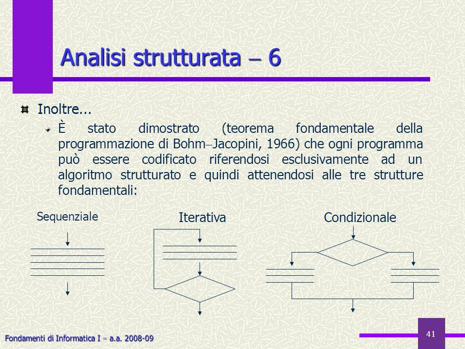 Fondamenti di Informatica I a.a. 2008-09 41 Inoltre... È stato dimostrato (teorema fondamentale della programmazione di Bohm Jacopini, 1966) che ogni