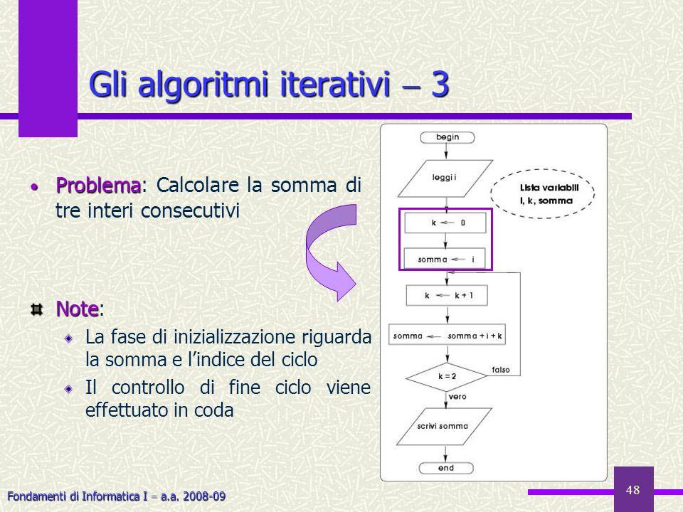 Fondamenti di Informatica I a.a. 2008-09 48 Gli algoritmi iterativi 3 Problema Problema: Calcolare la somma di tre interi consecutivi Note Note: La fa