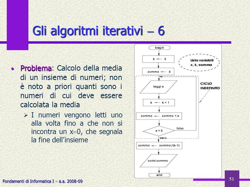 Fondamenti di Informatica I a.a. 2008-09 51 Gli algoritmi iterativi 6 Problema Problema: Calcolo della media di un insieme di numeri; non è noto a pri