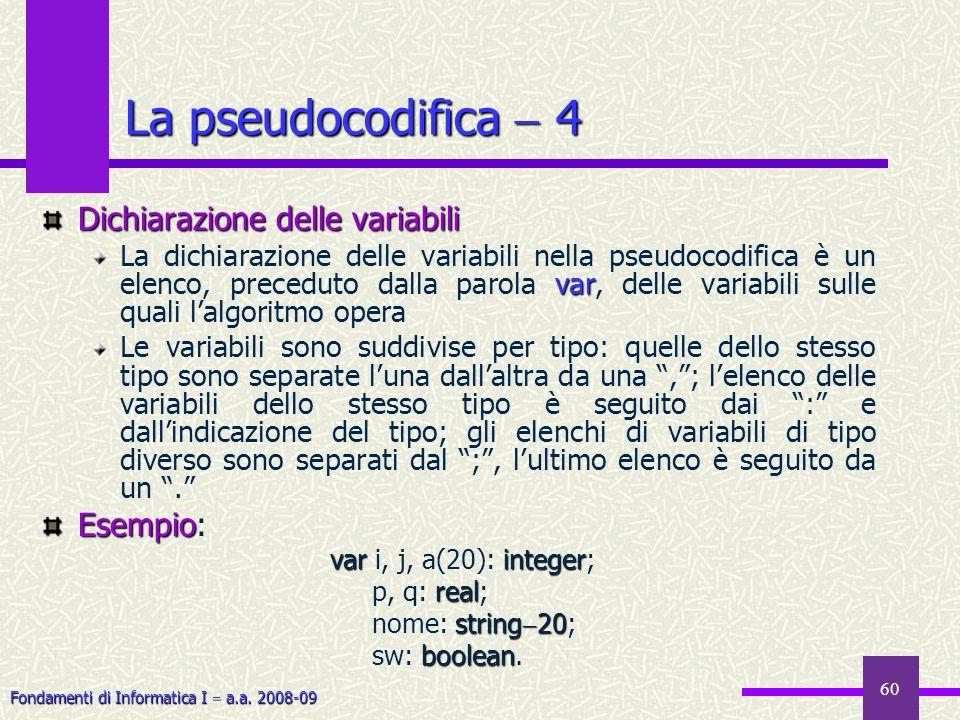 Fondamenti di Informatica I a.a. 2008-09 60 Dichiarazione delle variabili var La dichiarazione delle variabili nella pseudocodifica è un elenco, prece