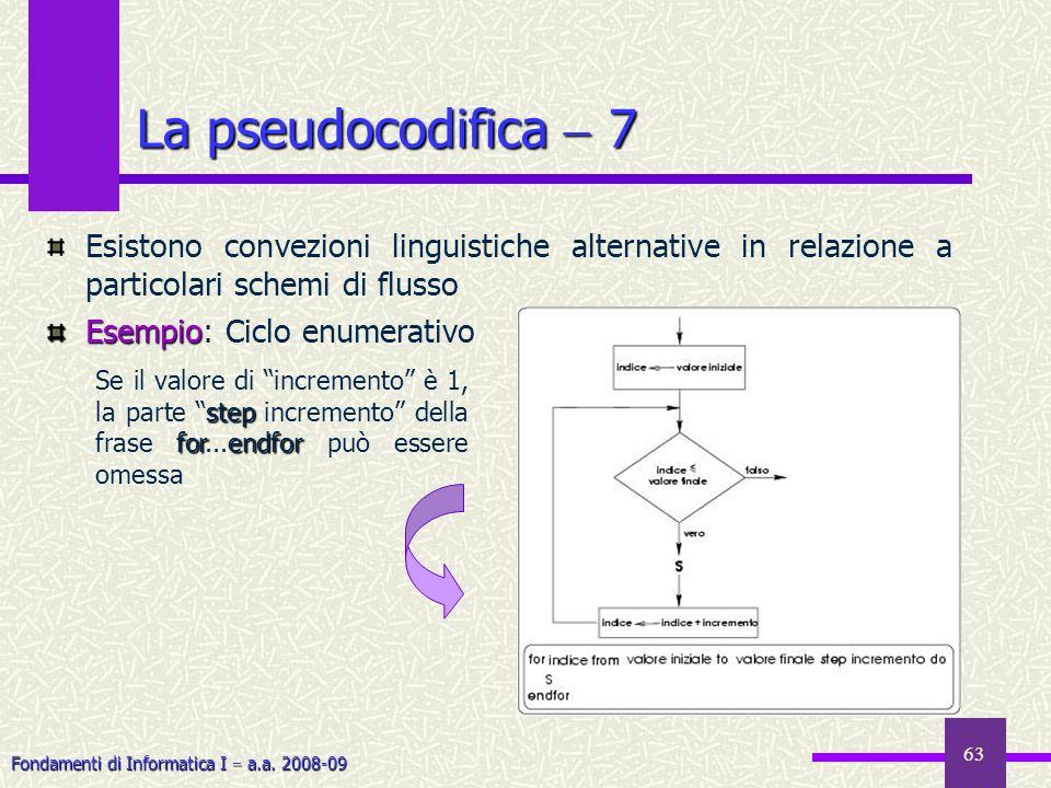 Fondamenti di Informatica I a.a. 2008-09 63 Esistono convezioni linguistiche alternative in relazione a particolari schemi di flusso Esempio Esempio:
