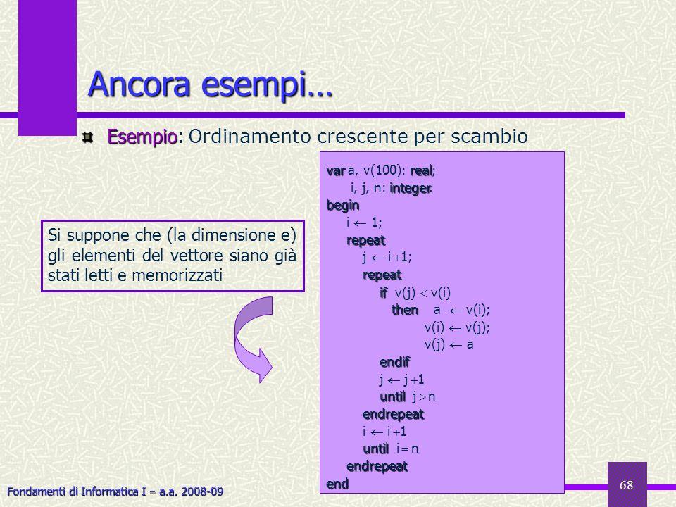 Fondamenti di Informatica I a.a. 2008-09 68 Ancora esempi… Esempio Esempio: O rdinamento crescente per scambio varreal var a, v(100): real; integer i,