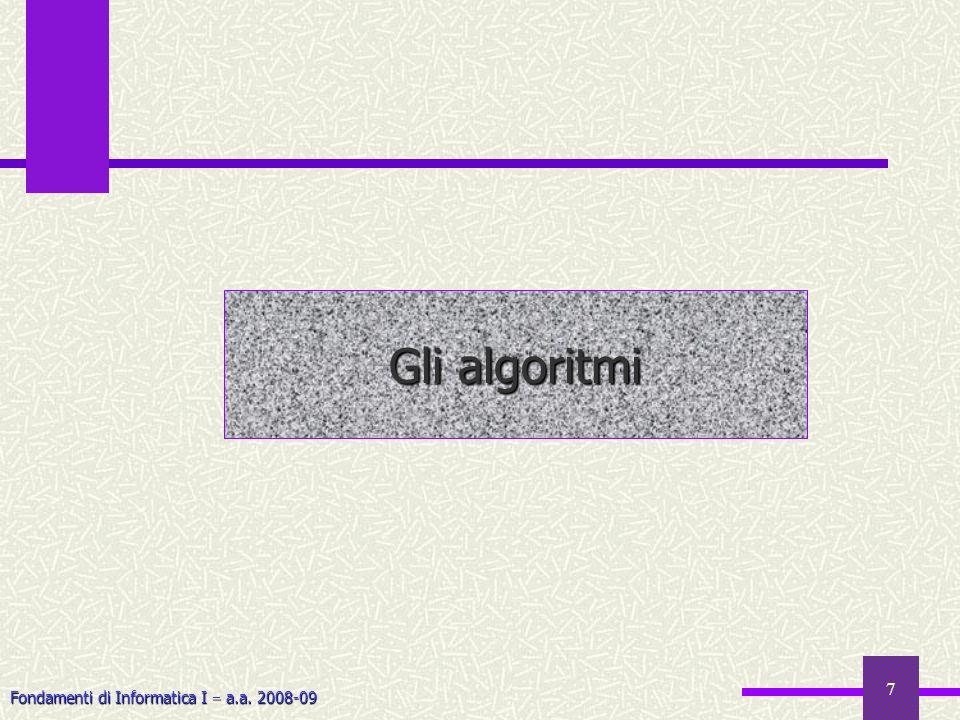 Fondamenti di Informatica I a.a. 2008-09 7 Gli algoritmi
