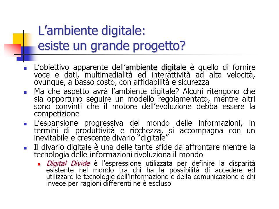Lambiente digitale: esiste un grande progetto.