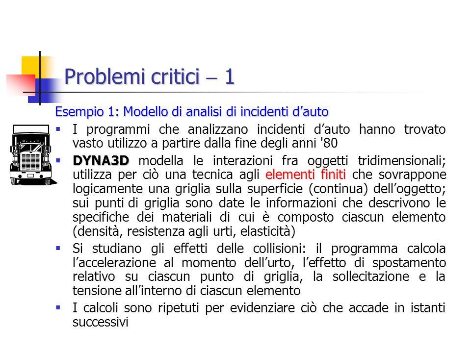 Problemi critici 1 Esempio 1: Modello di analisi di incidenti dauto I programmi che analizzano incidenti dauto hanno trovato vasto utilizzo a partire dalla fine degli anni 80 DYNA3D elementi finiti DYNA3D modella le interazioni fra oggetti tridimensionali; utilizza per ciò una tecnica agli elementi finiti che sovrappone logicamente una griglia sulla superficie (continua) delloggetto; sui punti di griglia sono date le informazioni che descrivono le specifiche dei materiali di cui è composto ciascun elemento (densità, resistenza agli urti, elasticità) Si studiano gli effetti delle collisioni: il programma calcola laccelerazione al momento dellurto, leffetto di spostamento relativo su ciascun punto di griglia, la sollecitazione e la tensione allinterno di ciascun elemento I calcoli sono ripetuti per evidenziare ciò che accade in istanti successivi