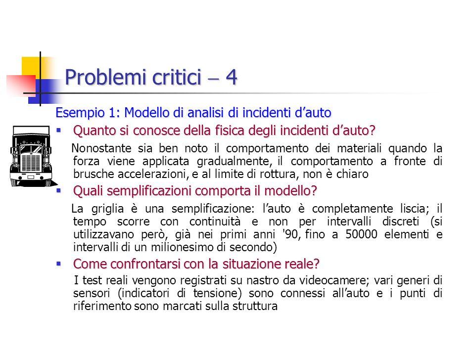 Problemi critici 4 Esempio 1: Modello di analisi di incidenti dauto Quanto si conosce della fisica degli incidenti dauto.