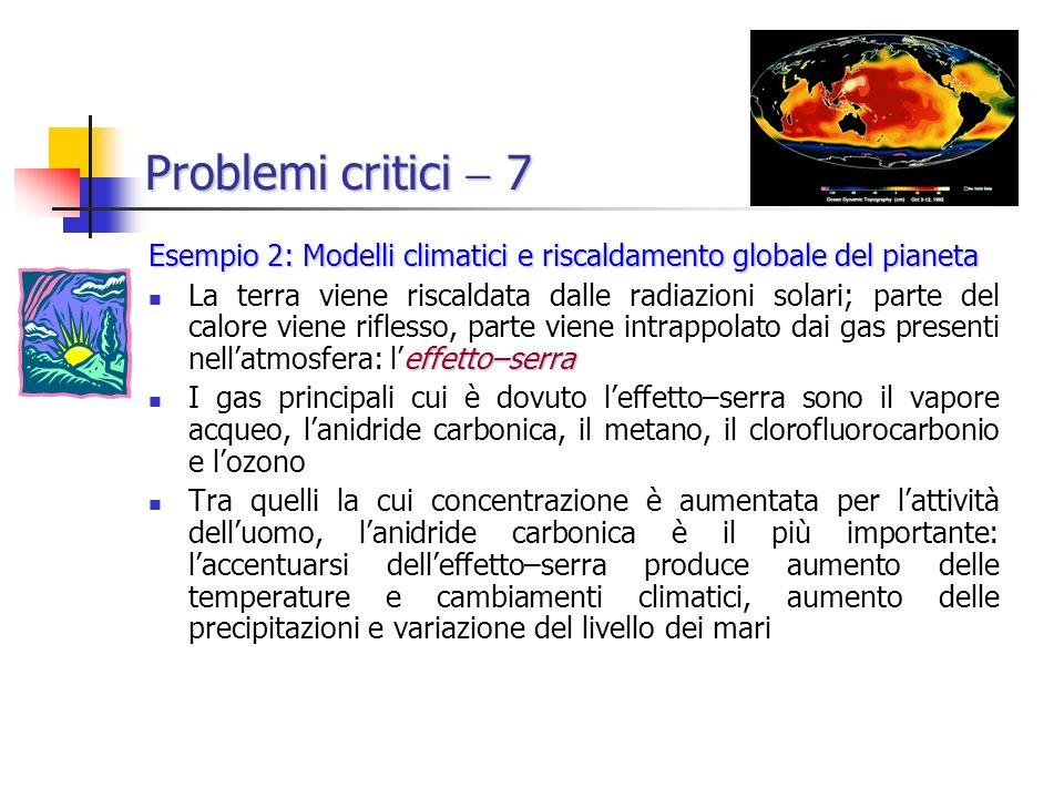 Problemi critici 7 Esempio 2: Modelli climatici e riscaldamento globale del pianeta effetto–serra La terra viene riscaldata dalle radiazioni solari; parte del calore viene riflesso, parte viene intrappolato dai gas presenti nellatmosfera: leffetto–serra I gas principali cui è dovuto leffetto–serra sono il vapore acqueo, lanidride carbonica, il metano, il clorofluorocarbonio e lozono Tra quelli la cui concentrazione è aumentata per lattività delluomo, lanidride carbonica è il più importante: laccentuarsi delleffetto–serra produce aumento delle temperature e cambiamenti climatici, aumento delle precipitazioni e variazione del livello dei mari