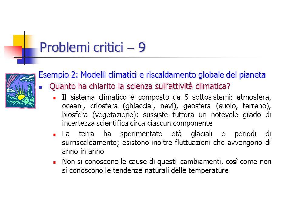 Problemi critici 9 Esempio 2: Modelli climatici e riscaldamento globale del pianeta Quanto ha chiarito la scienza sullattività climatica.