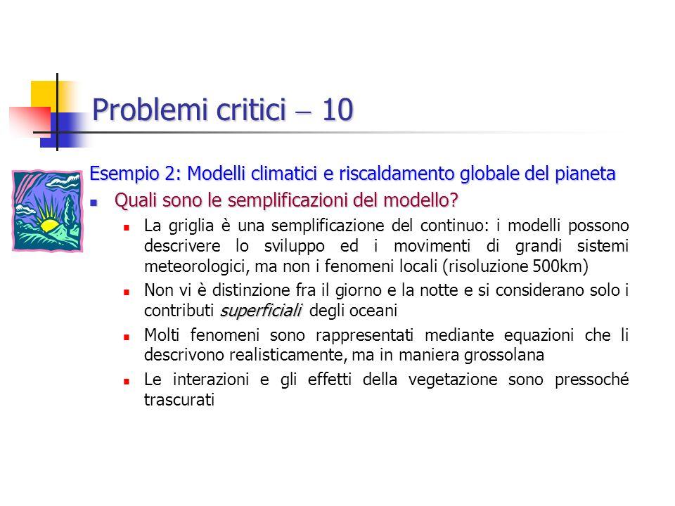 Problemi critici 10 Esempio 2: Modelli climatici e riscaldamento globale del pianeta Quali sono le semplificazioni del modello.